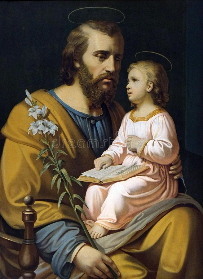 Free Saint Joseph Holding Child Jesus Royalty Free Stock Photo - 137313015
