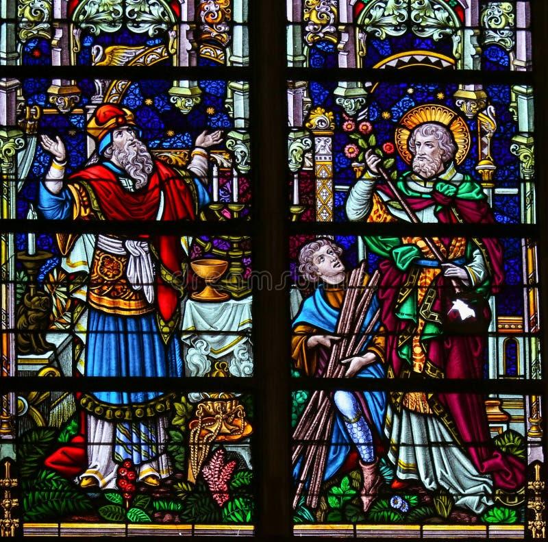 Saint Joseph - målat glass arkivfoto