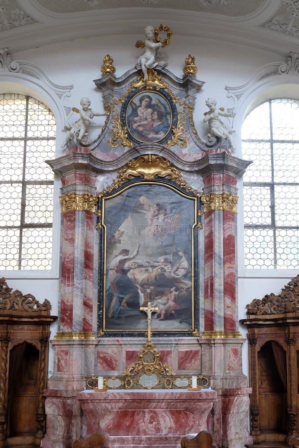 Saint Joseph ołtarz w bazylice St Martin i Oswald w Weingarten, Niemcy zdjęcie royalty free