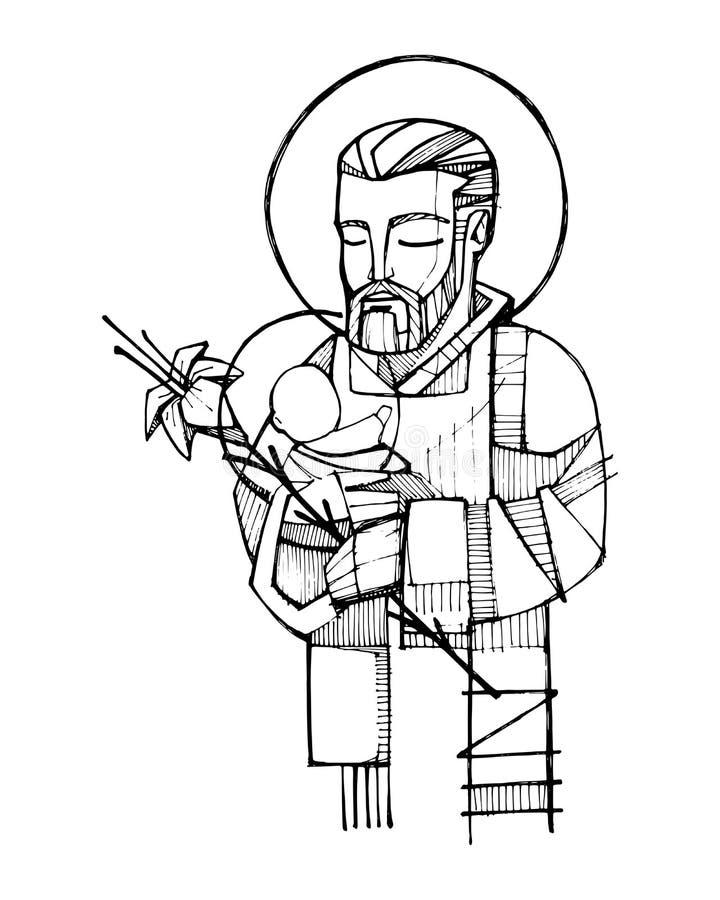 Saint Joseph och behandla som ett barn den Jesus färgpulverillustrationen stock illustrationer
