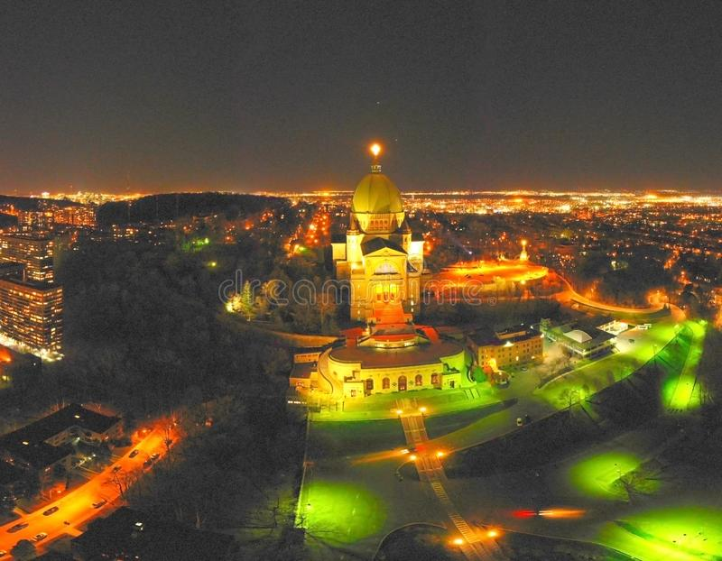 Saint Joseph s Oratory. Night view panorama stock photo