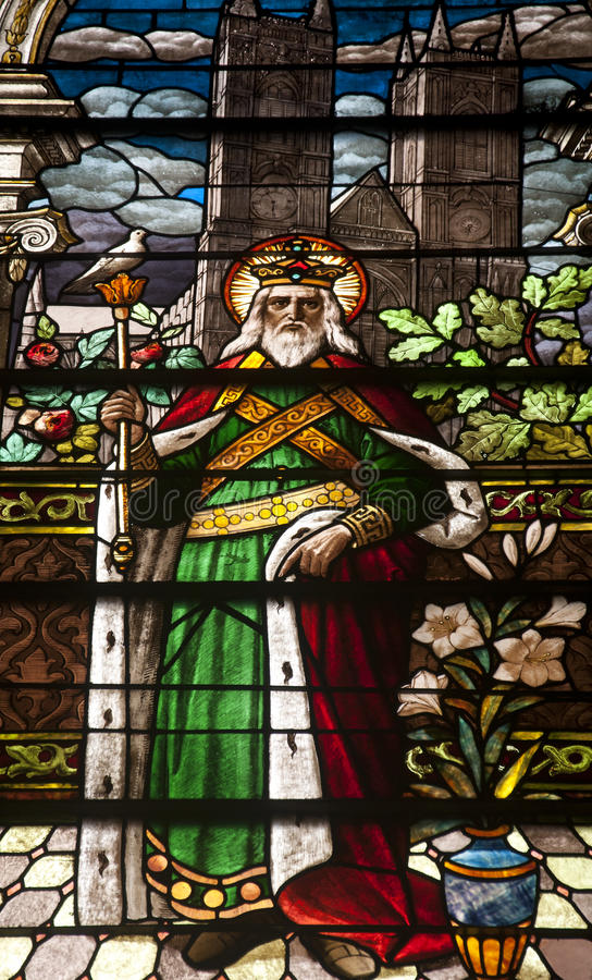 Saint Joseph Stained Glass Window. A stained glass window of saint joseph at St Joseph's Cathedral in San Jose California royalty free stock image
