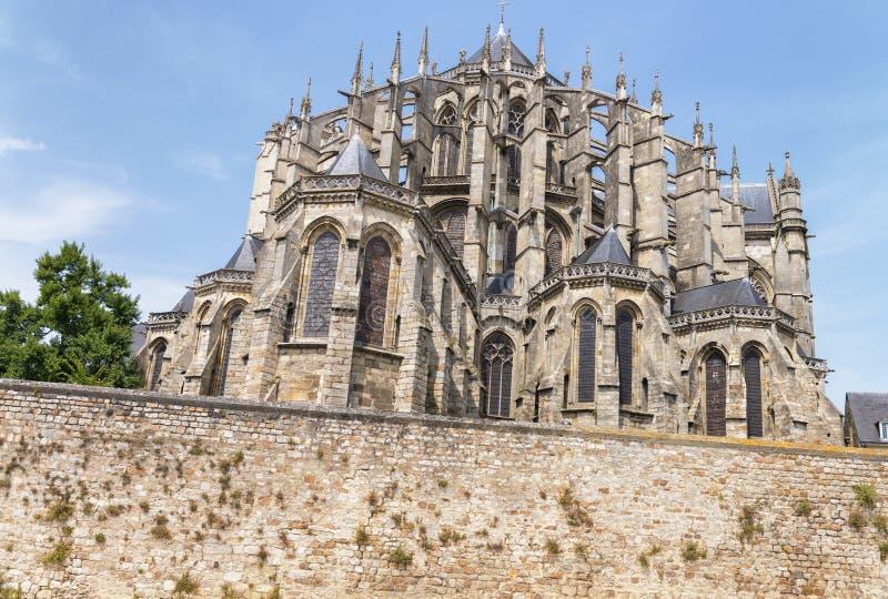 Saint Julien Le Mans, France de cathédrale photographie stock libre de droits
