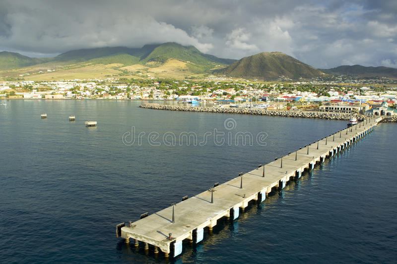 Saint kitts. Zante pier at Saint kitts overlooking Basseterre royalty free stock photography