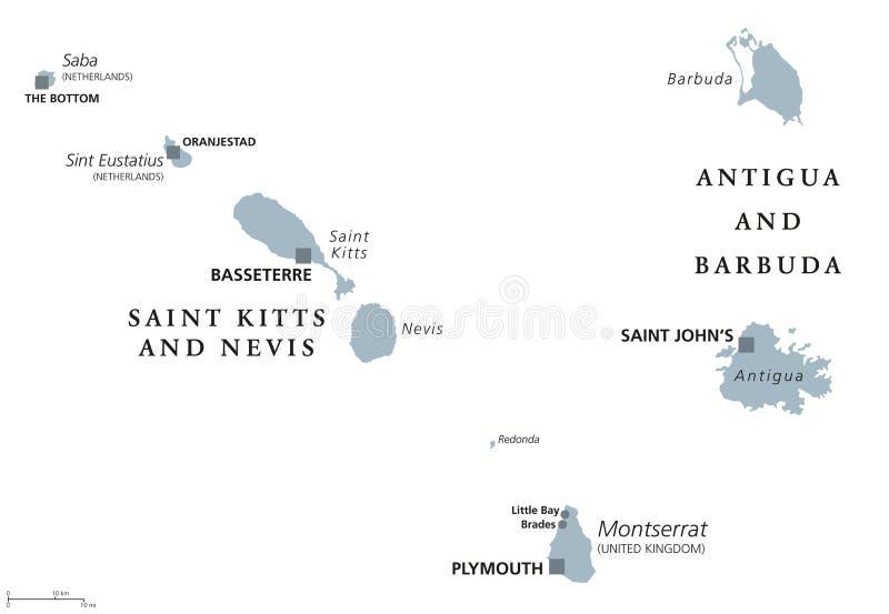 Saint Kitts Nevis Antigua Barbuda Montserrat Political Map Stock