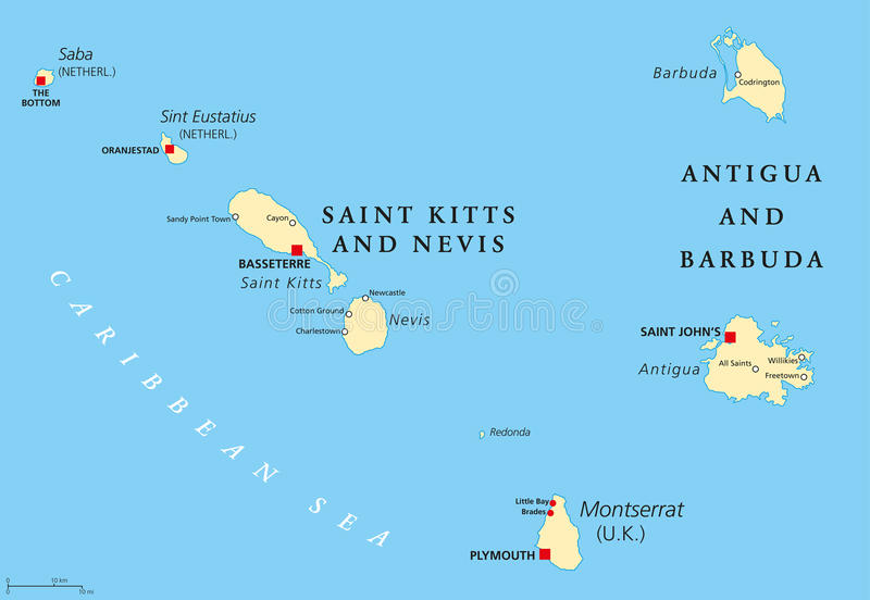 Saint Kitts Nevis Antigua Barbuda And Montserrat Political Map