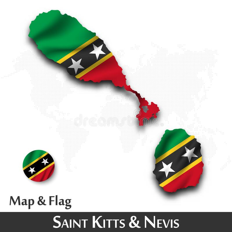Saint Kitts and Nevis map and flag . Waving textile design . Dot world map background . Vector vector illustration