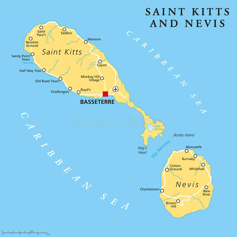 Saint Kitts And Nevis Political Map Stock Vector Illustration of