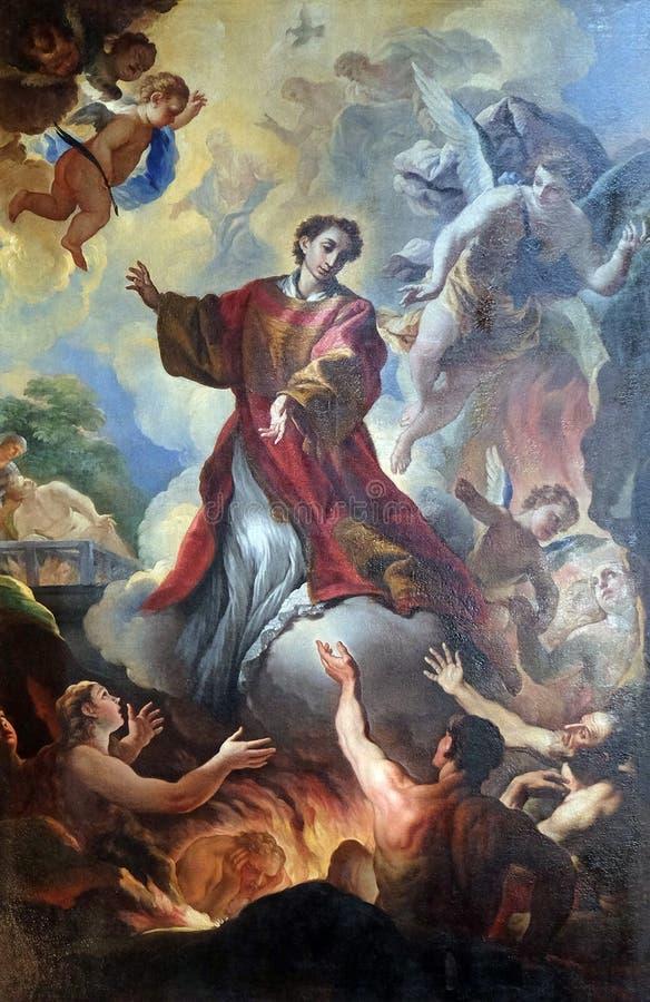 Saint-Laurent et les âmes dans le purgatoire, Di San Lorenzo de basilique à Florence photos stock