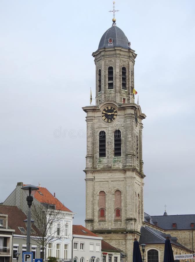 St. Laurentius Church - Lokeren - Belgium. The Saint-Laurentius church, almost 70 meters long, is especially pronounced with her tower, also known as the `pepper stock photography