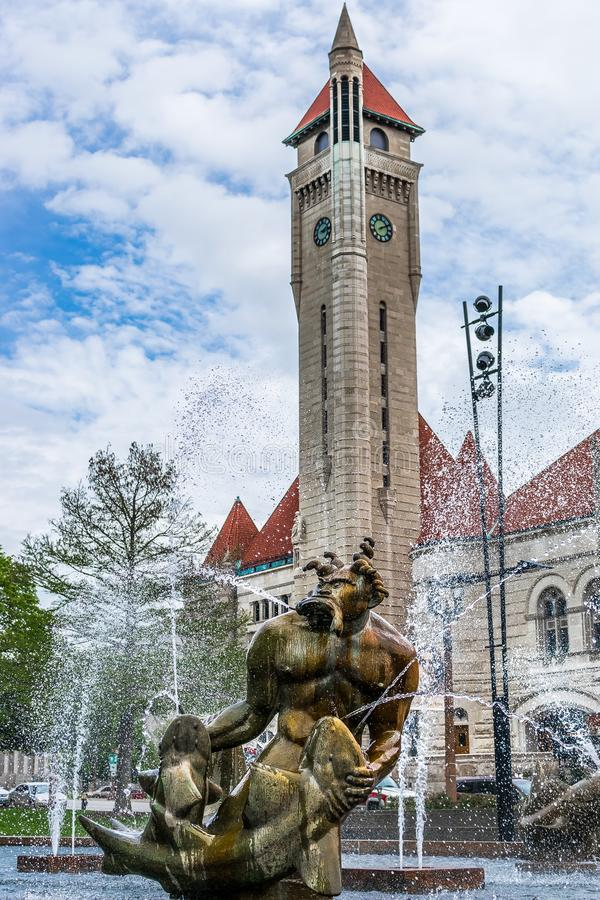 Saint Louis Aloe Plaza Fountain and Union Station royalty free stock photography