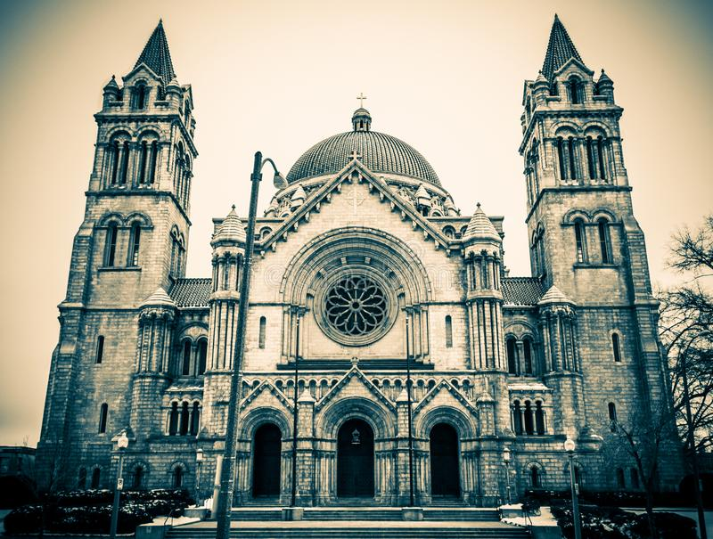Saint Louis Basilica in Black and Blue stock image
