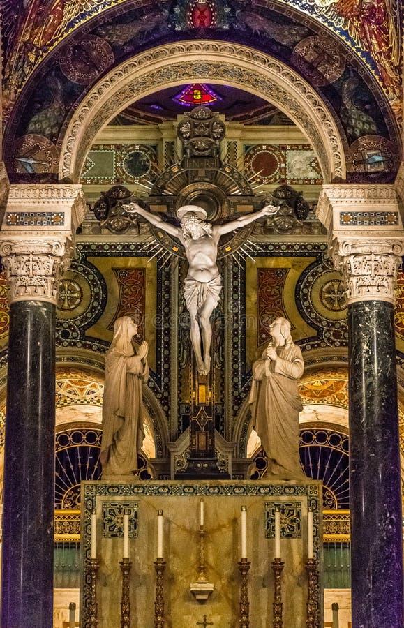 Saint Louis Basilica Main Altar Crucifix with Jesus Christ stock image