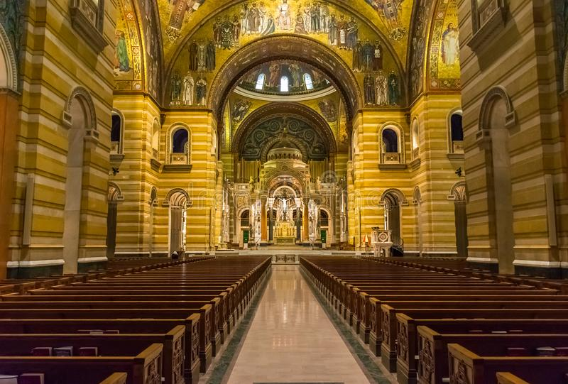 Saint Louis Basilica Main Nave and Altar With West`s Largest Mosaics royalty free stock photo