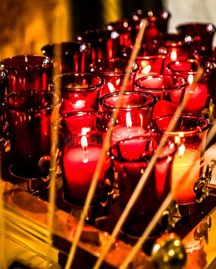Saint Louis Basilica Side Altar Red Prayer Candles royalty free stock photography