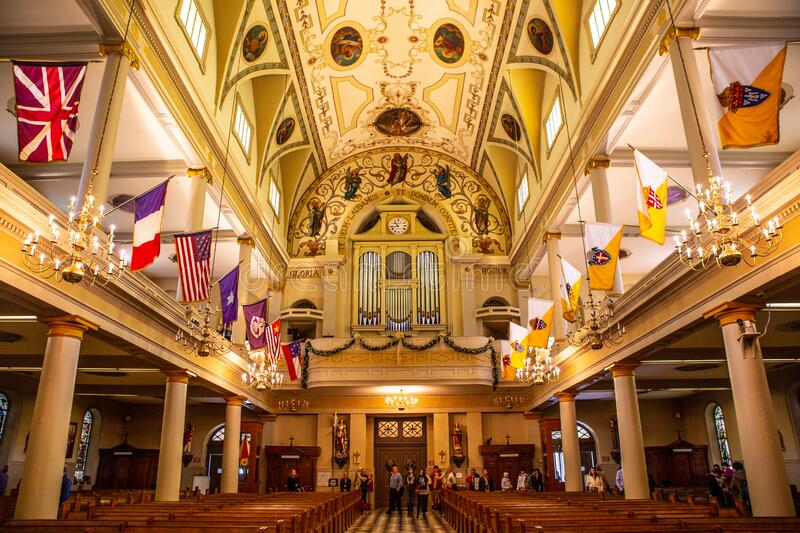 Saint Louis Cathedral in New Orleans,. Inside shot of Saint Louis Cathedral in New Orleans, United States stock image
