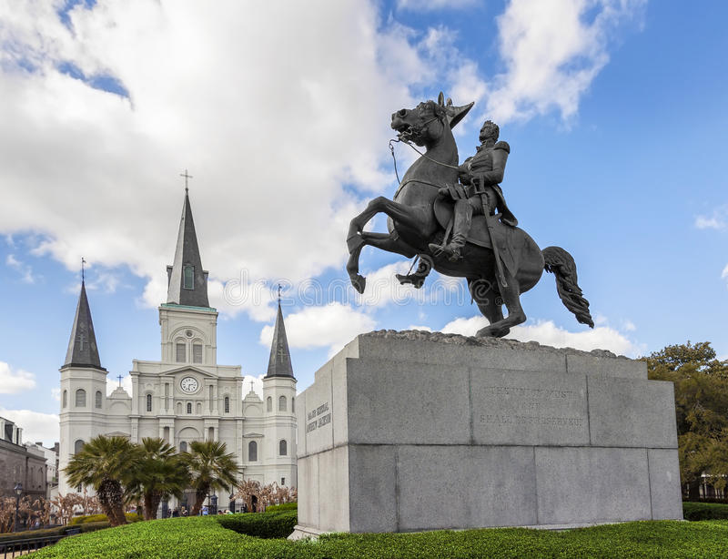 Saint Louis Cathedral and statue of Andrew Jackson, New Orleans, USA. stock image