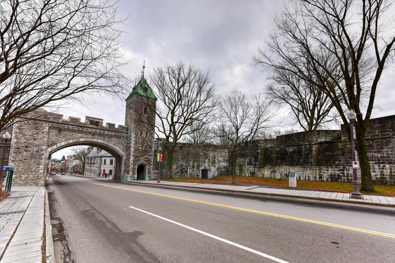 Saint Louis Gate - Quebec, Canada. Saint Louis Gate in Quebec, Canada. Located in Canada, the Ramparts of Quebec City are the only remaining fortified city walls stock image