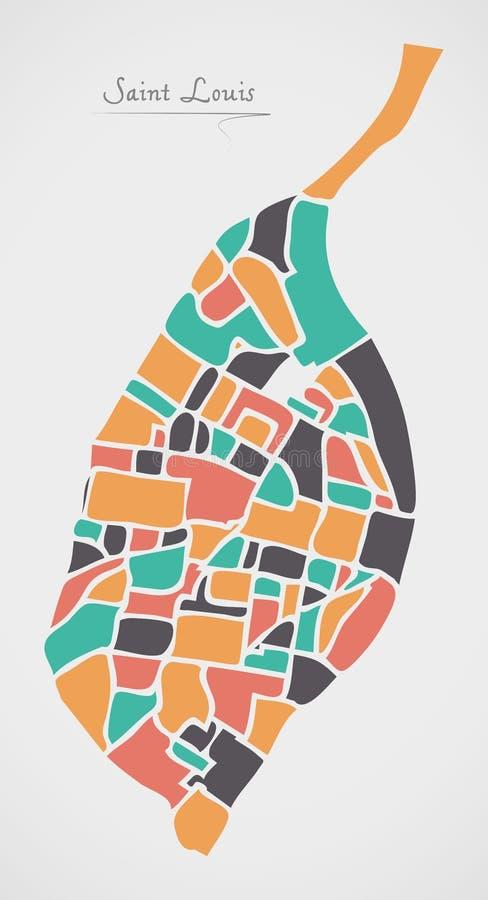 Saint Louis Missouri Map with neighborhoods and modern round shapes. Illustration royalty free illustration