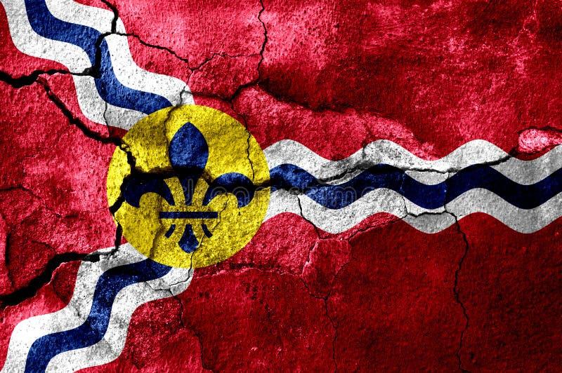 Saint Louis Missouri rostade den spruckna flaggan, rostig bakgrund Amerika tillstånd förenade stock illustrationer