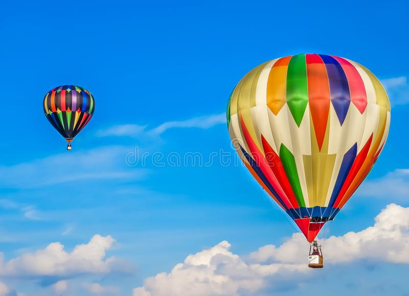 Saint Louis, MO USA - Hot Air Balloon Race in Summer Sky stock photo