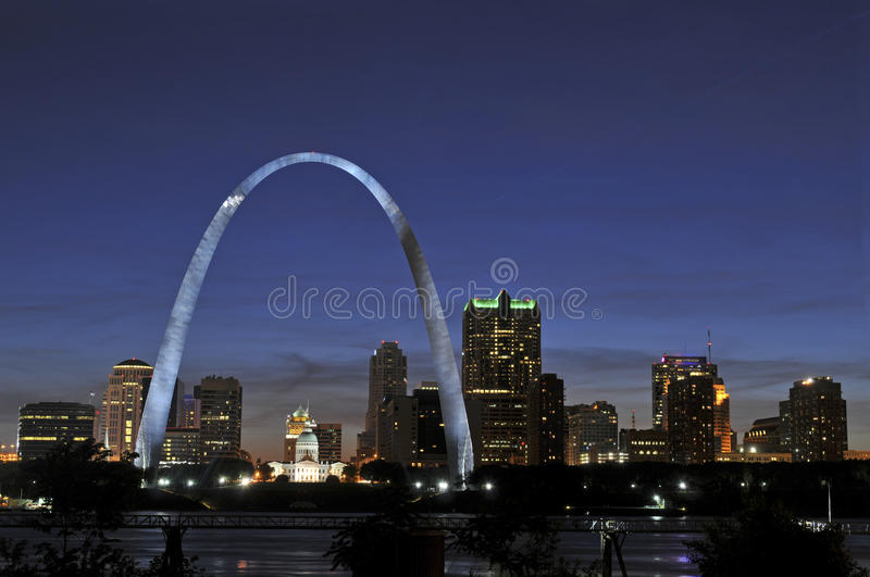Saint Louis Skyline. With the Mississippi river in front at night stock photo