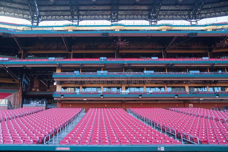 Saint Louis, United States-Dec 16, 2017: Rows of empty seats in. Cardinal`s Busch Stadium royalty free stock photos