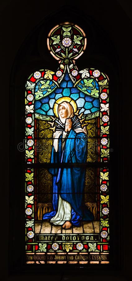SAINT LOUIS, UNITED STATES - MARCH 11: Stained glass of Mater Do. Lorosa - Our Lady of Sorrows at St Frances De Sales Oratory on March 11, 2015. St. Frances is stock photo