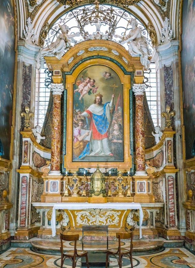 Saint Louis van de Franse kapel in de homonymous kerk in Rome, Italië stock foto's