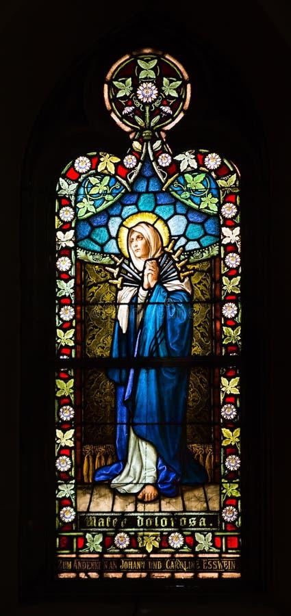 SAINT LOUIS, VERENIGDE STATEN - MAART 11: Het gebrandschilderde glas van Mater  stock foto