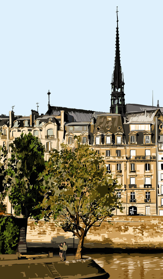 Saint Louis wyspa na jaskrawym letnim dniu w Paryż ilustracji