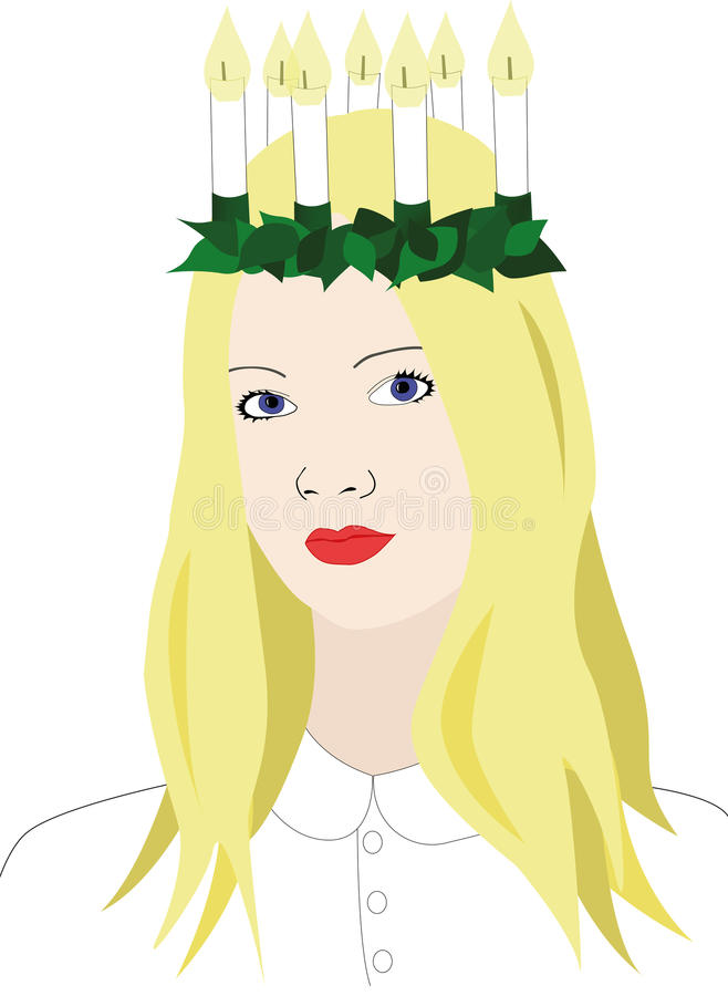 Saint lucia with crown of candles vector illustration