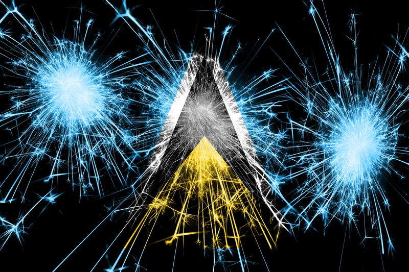 Saint Lucia fireworks sparkling flag. New Year, Christmas and National day concept vector illustration