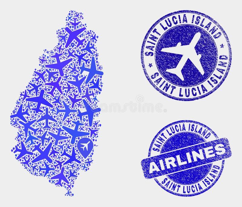 Saint Lucia Island Map de vecteur de mosaïque d'aviation et phoques grunges illustration stock