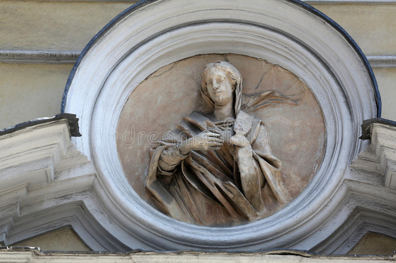 Saint Lucia. St Lucia marble statue. St. Lucia Church in Parma. Emilia-Romagna. Italy royalty free stock photography