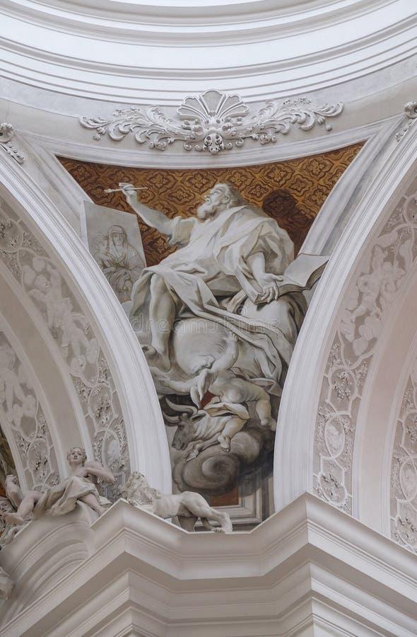Saint Luke the Evangelist, Basilica of St. Martin and Oswald in Weingarten, Germany. Saint Luke the Evangelist, fresco by Cosmas Damian Asam in the Basilica of royalty free stock photos