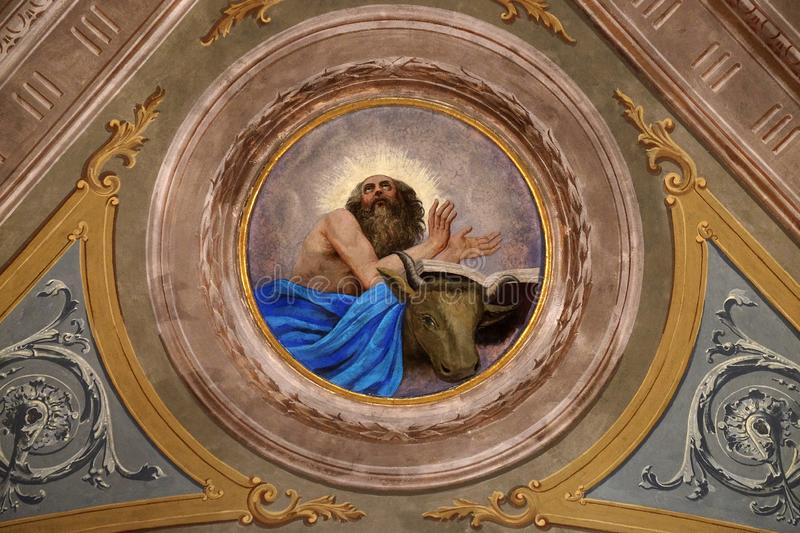 Saint Luke the Evangelist. Ceiling fresco in the church of St. Victor on the Fishermen Island, one of the famous Borromeo Islands of Lake Maggiore, Italy stock photos