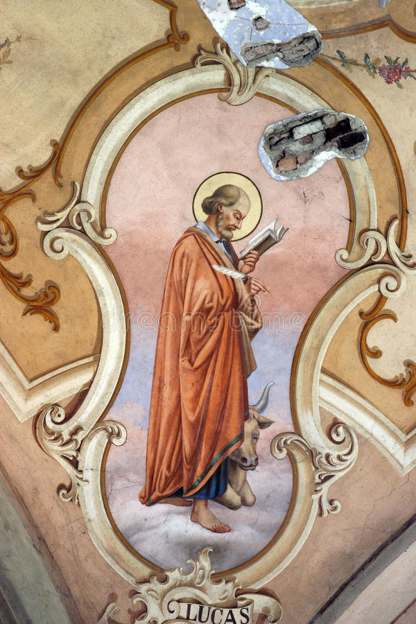 Saint Luke the Evangelist. Church fresco stock photos