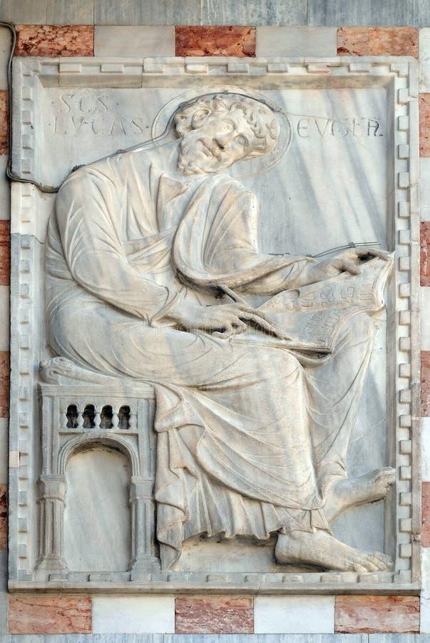 Saint Luke the Evangelist. Facade detail of St. Mark`s Basilica, St. Mark`s Square, Venice, Italy, UNESCO World Heritage Site stock photography