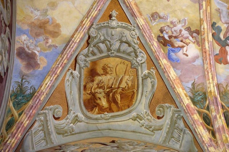 Saint Luke the Evangelist. Fresco in the church of Immaculate Conception in Lepoglava, Croatia stock images