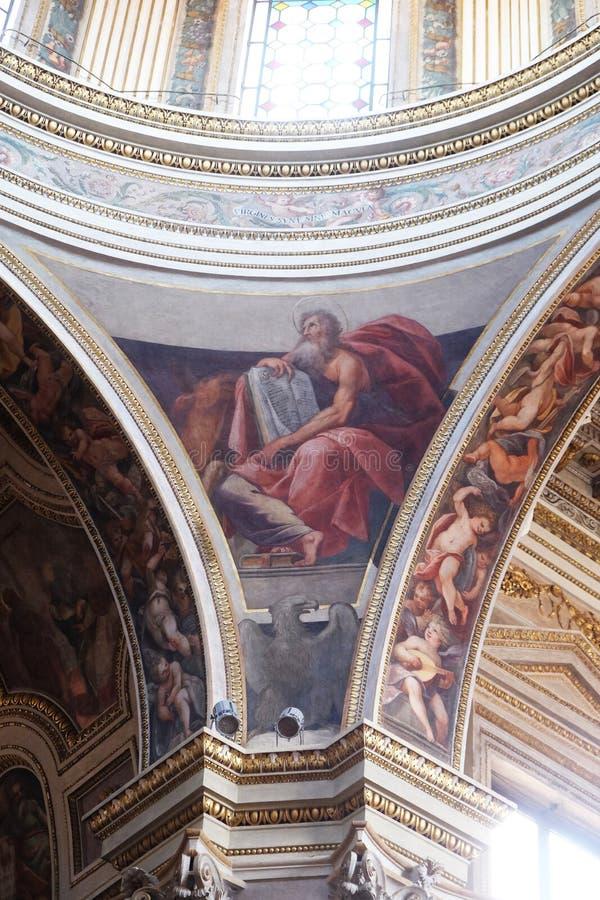Saint Luke the Evangelist. Fresco in Mantua Cathedral dedicated to Saint Peter, Mantua, Italy stock photo
