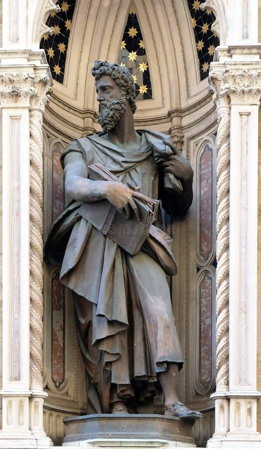 Saint Luke the Evangelist. Saint Luke by Giambologna Orsanmichele Church in Florence, Tuscany, Italy royalty free stock images