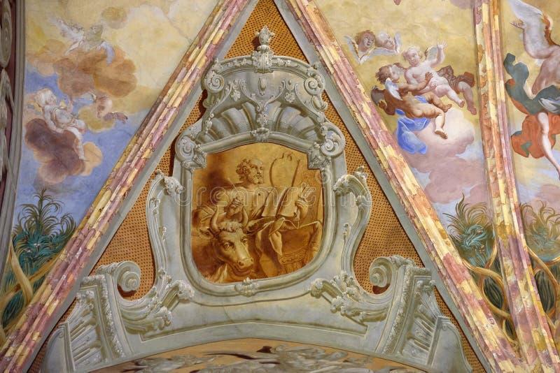Saint Luke the Evangelist. Saint Luke the ngelist, fresco in the church of Immaculate Conception in Lepoglava, Croatia royalty free stock image