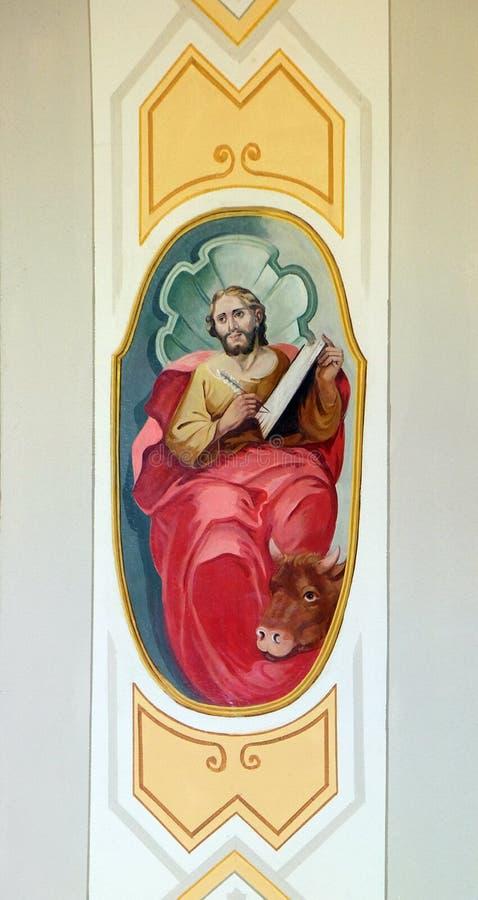 Saint Luke the Evangelist. Parish church of the Holy Trinity in Krasic, Croatia stock photos