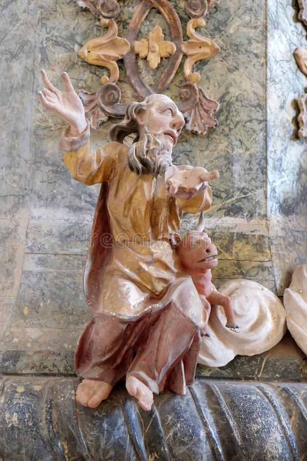 Saint Luke the Evangelist. Pulpit in the chapel of St. Wolfgang in Vukovoj, Croatia stock photo