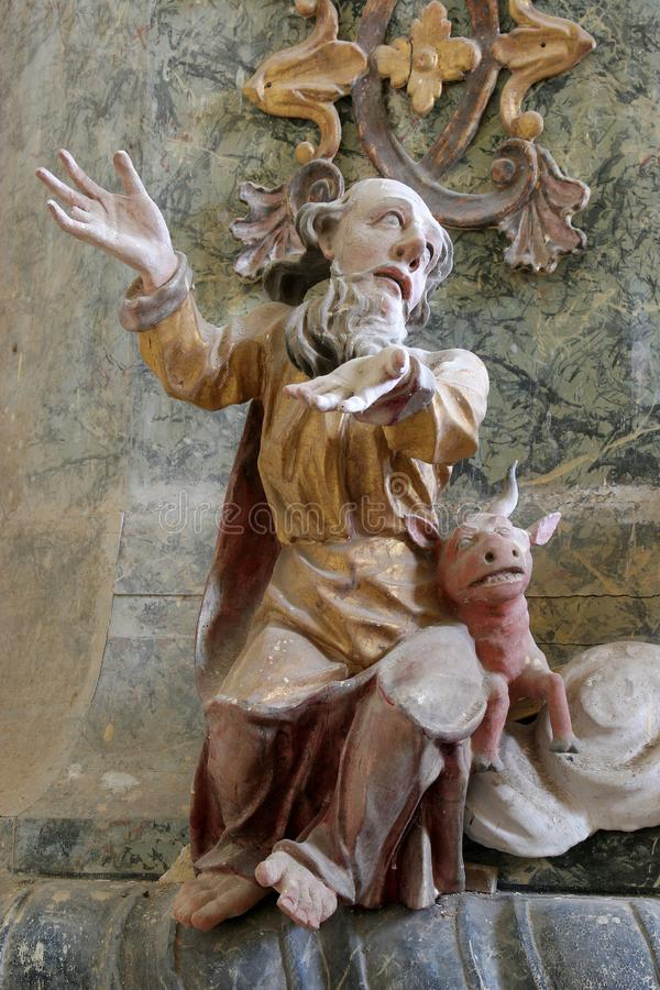 Saint Luke the Evangelist. Pulpit in the chapel of St. Wolfgang in Vukovoj, Croatia royalty free stock photography