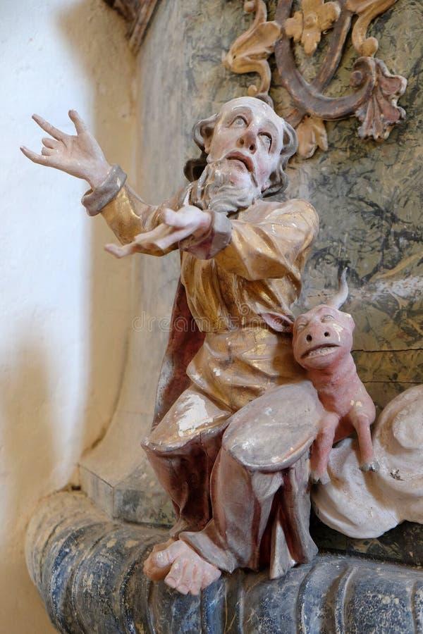 Saint Luke the Evangelist. Pulpit in the chapel of St. Wolfgang in Vukovoj, Croatia royalty free stock photo