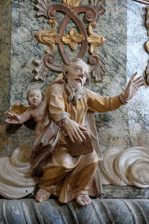 Saint Luke the Evangelist. Pulpit in the chapel of St. Wolfgang in Vukovoj, Croatia stock photos