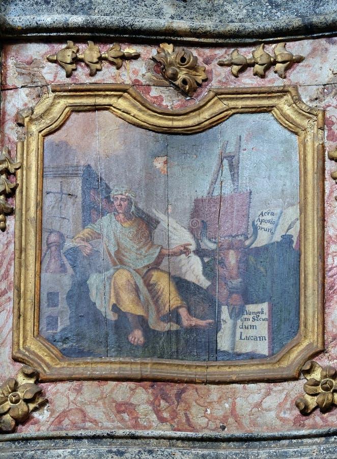Saint Luke the Evangelist. Pulpit in the church of Saint Leonard of Noblac in Kotari, Croatia stock photography