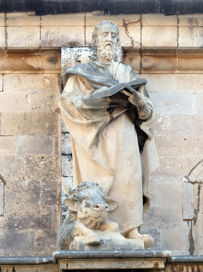 Saint Luke the Evangelist. Statue on the Cathedral of Assumption of the Virgin Mary in the Old Town of Dubrovnik, Croatia royalty free stock photos